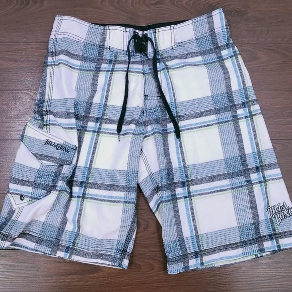 Billabong Men's Board Shorts, White & Blue Plaid